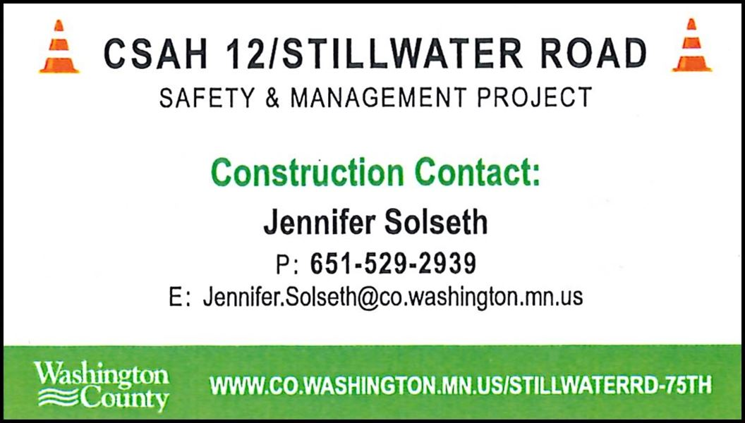 2019 CSAH 12 Construction Contact: Jenniefer Solseth (IMAGE)